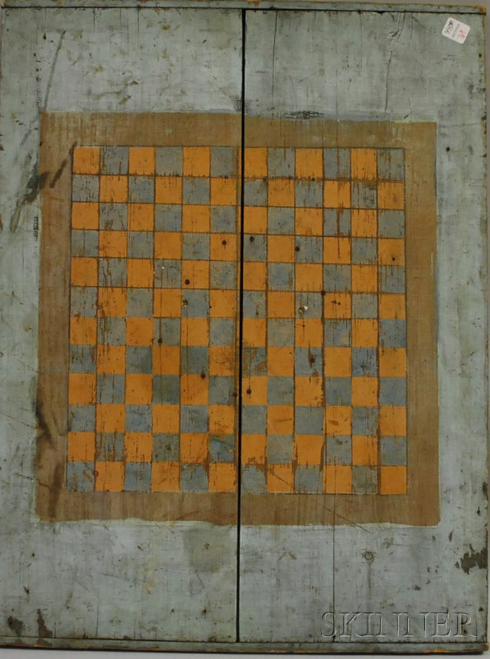 Polychrome Painted Wood Chess Game Board