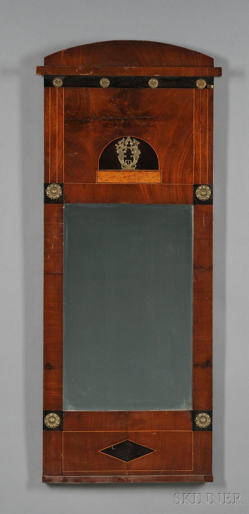 Biedermeier-style Mahogany Veneer, Inlaid, and Brass-mounted Mirror