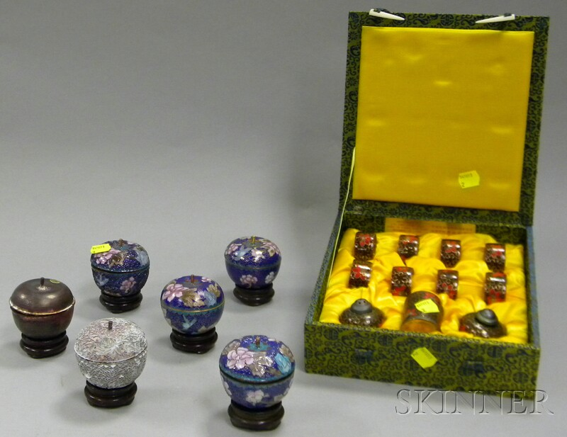 """Chinese Presentation Boxed Eleven-piece Cloisonne Table Set and a Boxed Set of Six   Chinese """"Cloisonne Process"""" Samples"""