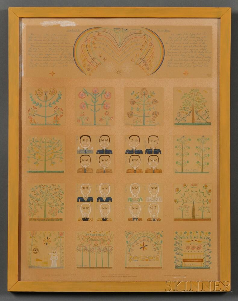 Silkscreen Reproduction of a Shaker Inspirational Drawing
