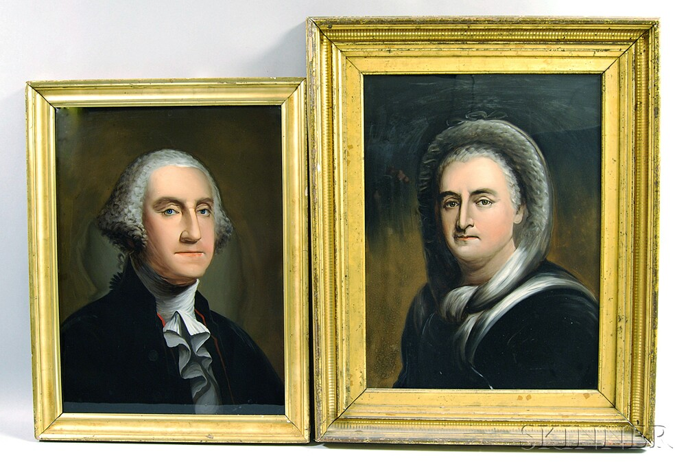 Attributed to William Matthew Prior (American, 1806-1873)       Pair of Portraits of George and Martha Washington.