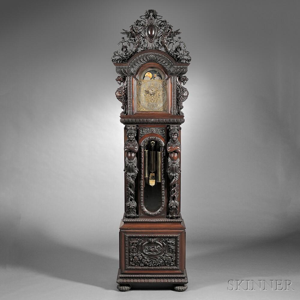Monumental Tiffany & Company Quarter-chiming Mahogany Floor Clock