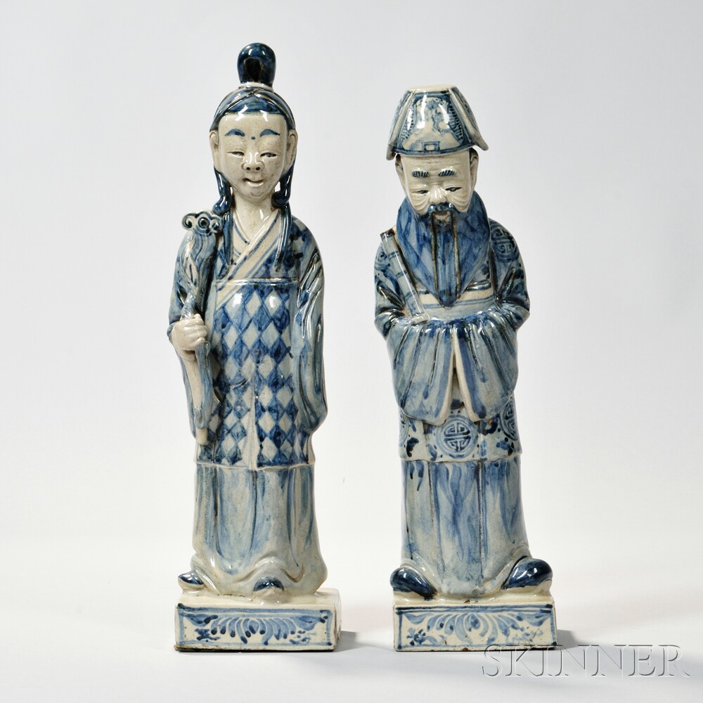 Two Blue and White Porcelain Figures