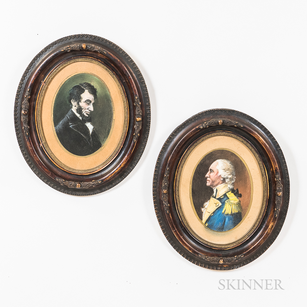 Two Framed Pastel Portraits of American Presidents