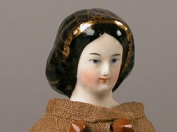 Small Early China Doll with Gold Snood
