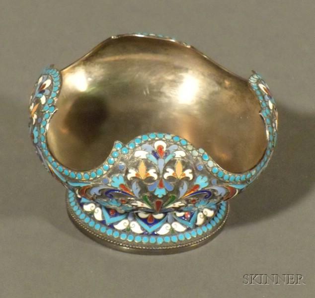 Russian Silver and Enamel Sugar Bowl