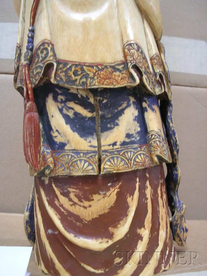 Large Polychrome Painted Ivory Carving