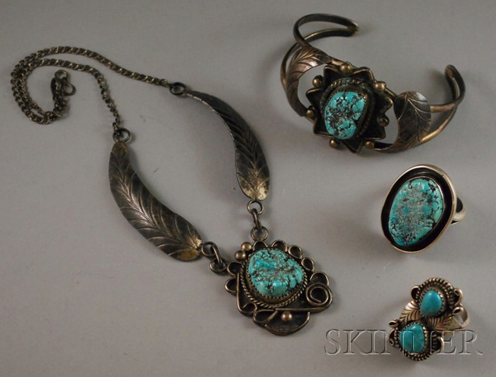 Four Southwestern Silver and Turquoise Jewelry Items