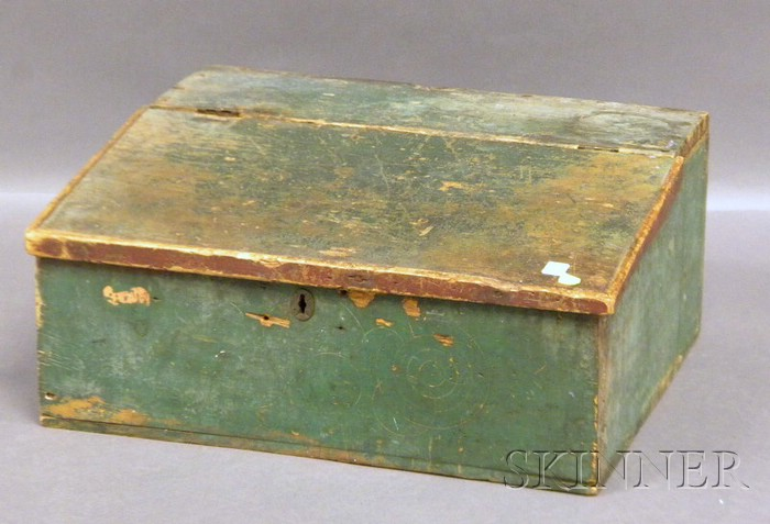 Green-painted Pine Slant-lid Desk Box