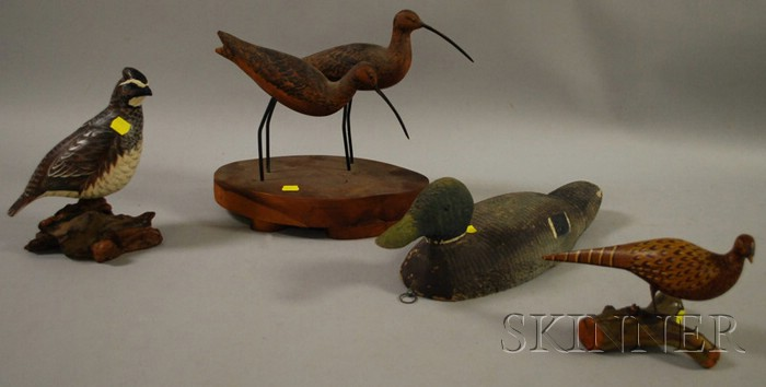 Four Carved and Painted Wooden Decoys and Figures