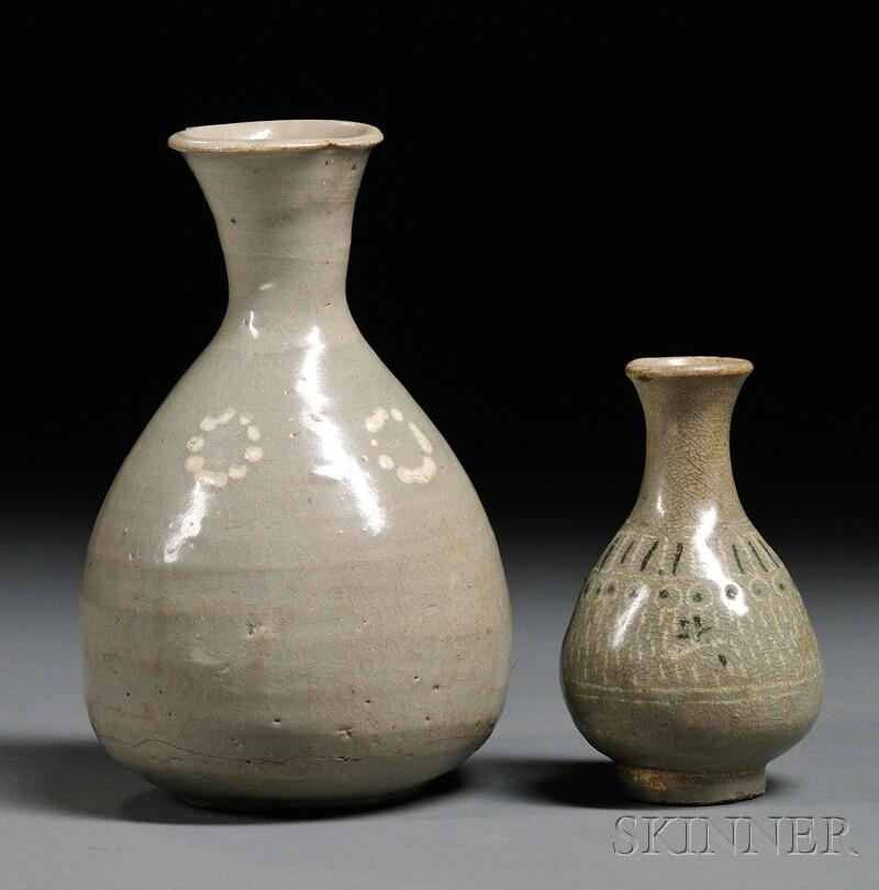 Two Celadon Bottles