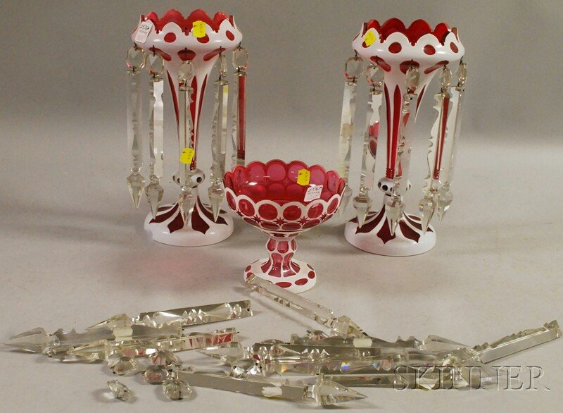 Pair of Bohemian Cased White-cut-ruby Art Glass Garniture Lustres and a Compote