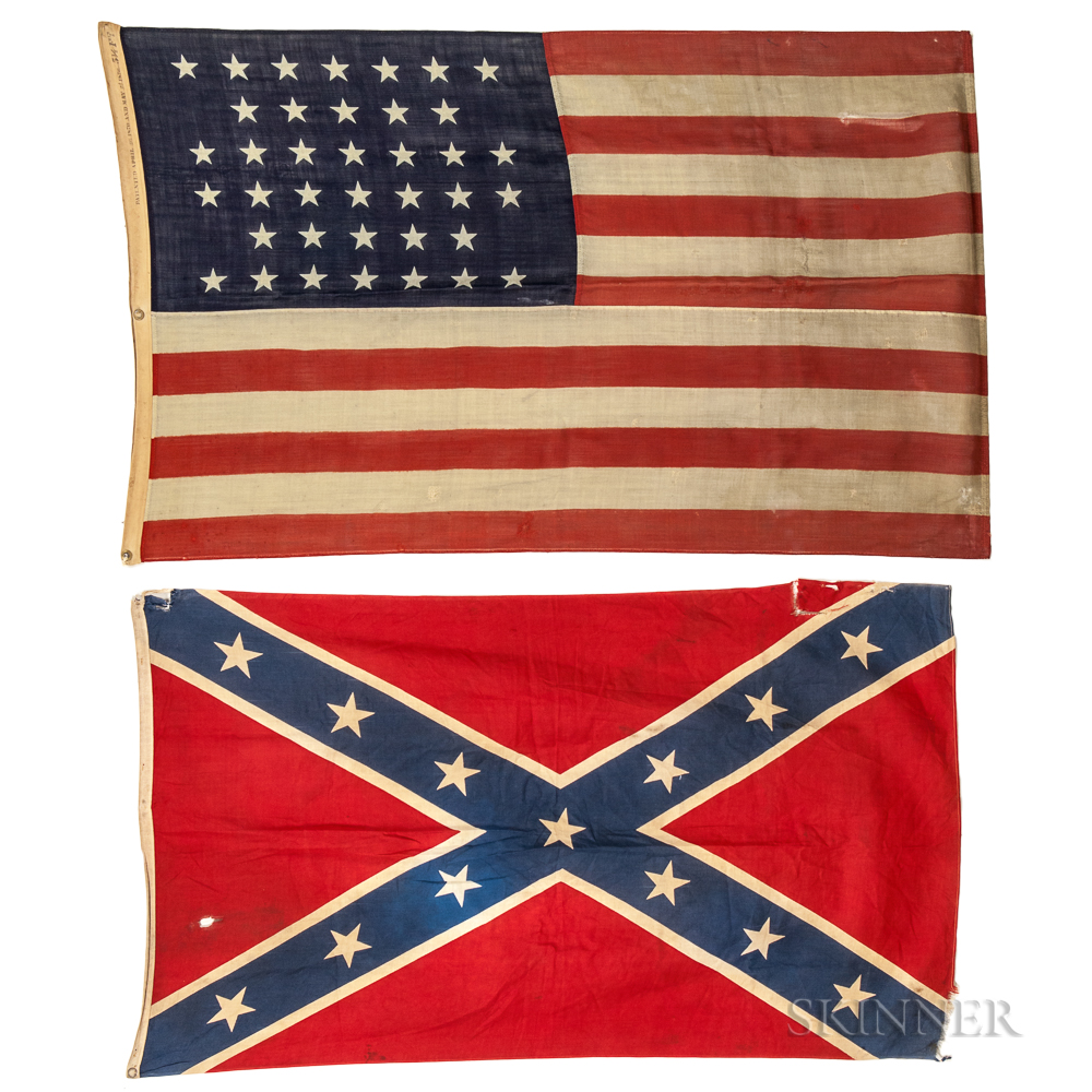 Three United States Flags And A Confederate Flag Sale Number 3121m