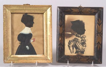 American School, 19th Century      Two Framed Silhouettes of Women.