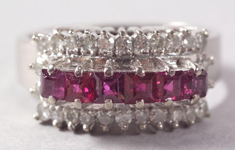 Retro 14kt White Gold, Ruby, and Platinum Ring.