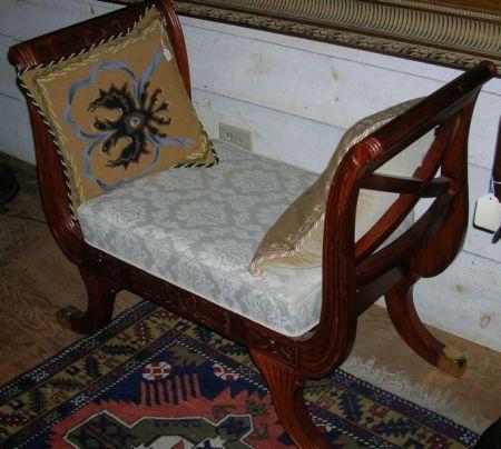 Asian Damask Upholstered Carved Hardwood Window Seat.