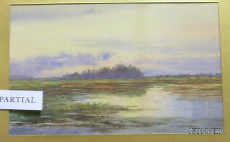 Framed American School Watercolor on Paper of a Marsh Scene with Geese Overhead