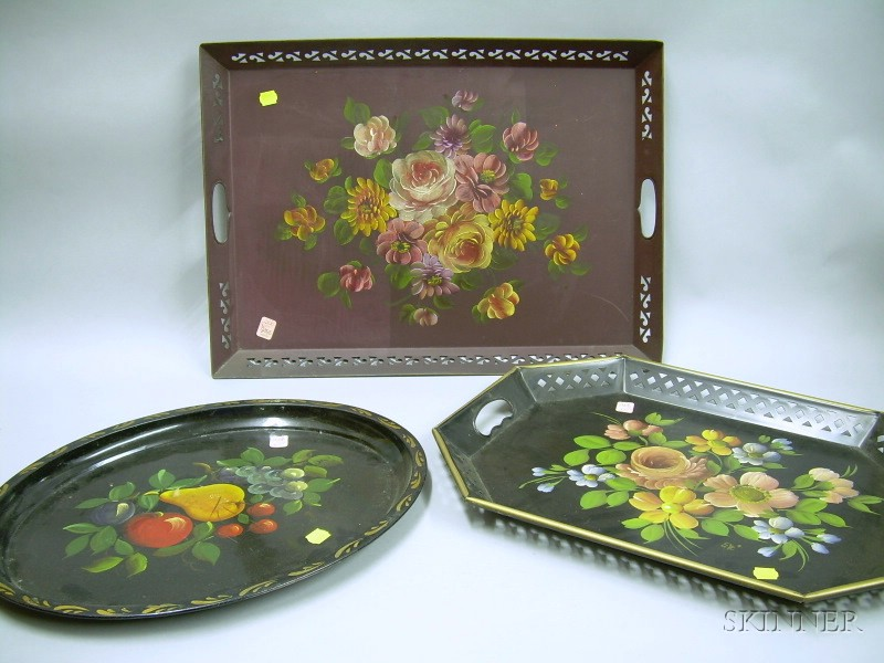 Three Floral Painted Tole Trays