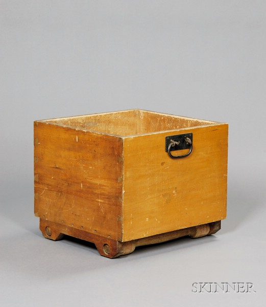 Shaker Pine and Oak Yellow-washed Rolling Wood Box, with Shaker Iron Tongs
