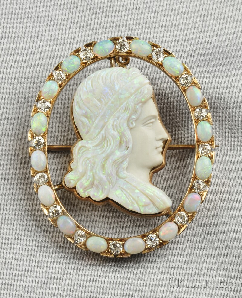 14kt Gold, Carved Opal, Opal, and Diamond Pendant/Brooch