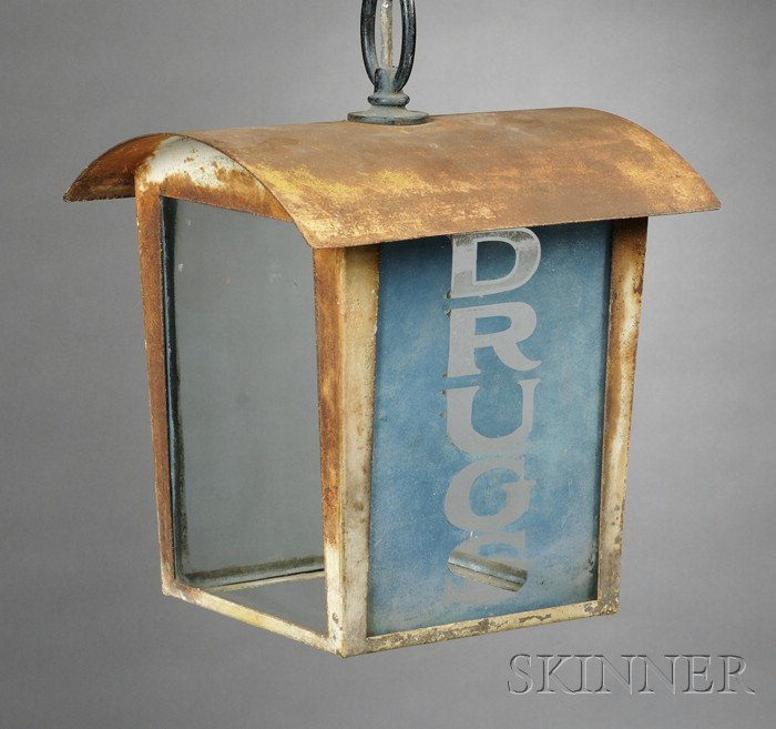 """Painted Iron and Glass Panel Hanging Lantern-form """"DRUGS"""" Trade Sign"""