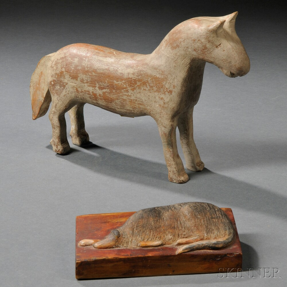 Painted Folk Carving of a Standing Horse and a Reclining Dog
