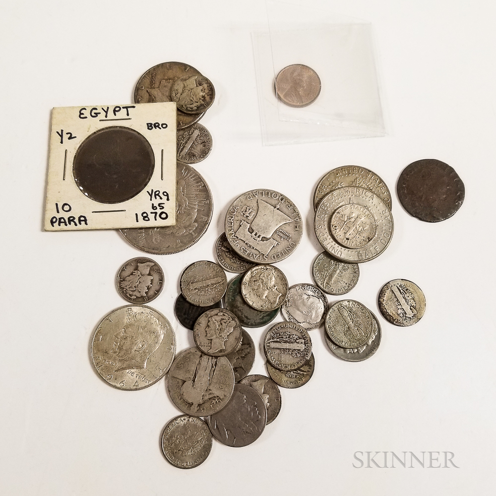 Group of Mostly American Coins and a 1934 $100 Federal Reserve Note