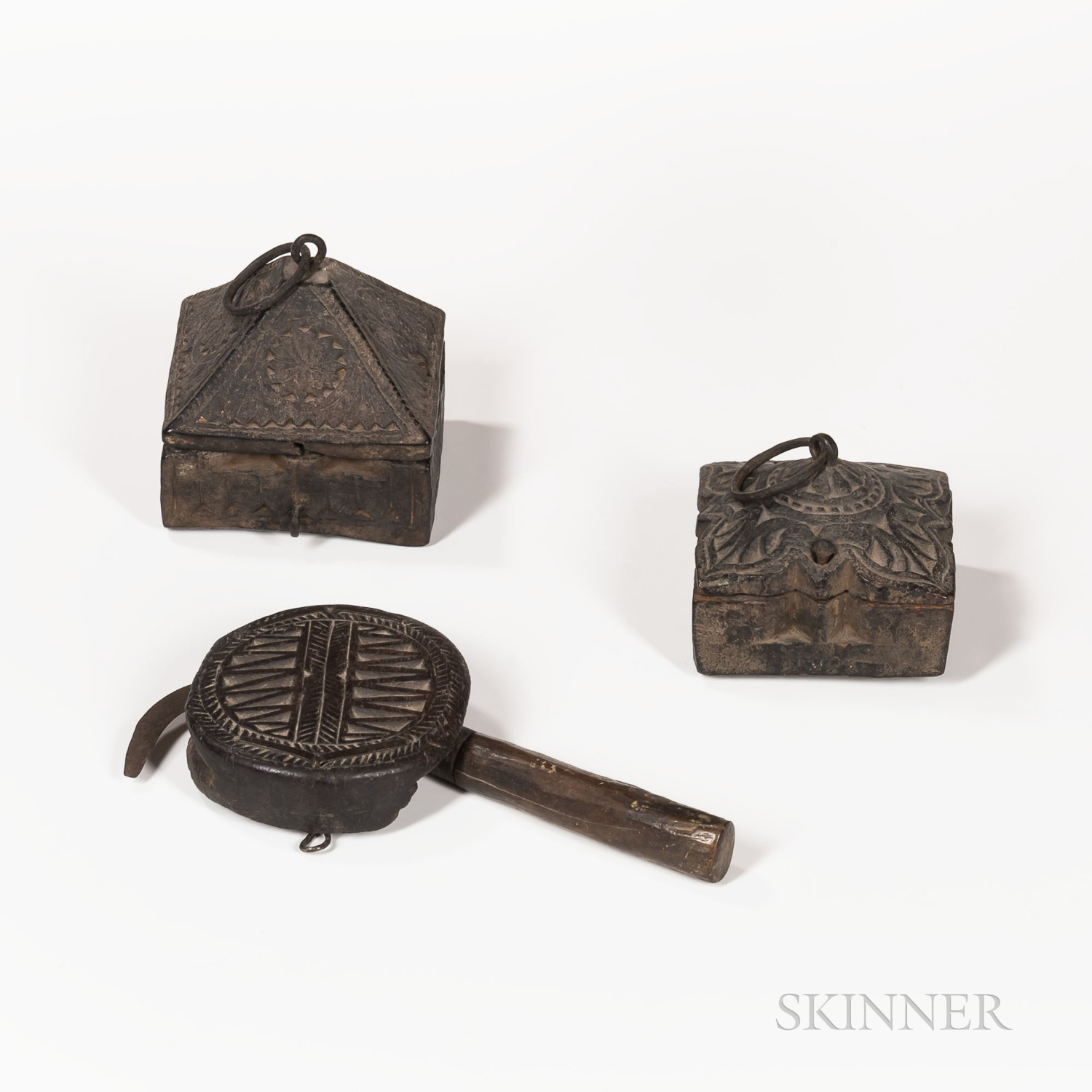 Two Nepalese Wood Boxes and Rice Sickle