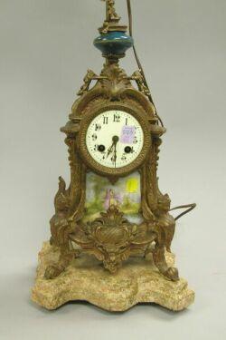 Louis XV Style Gilt-metal Mantel Clock Table Lamp.