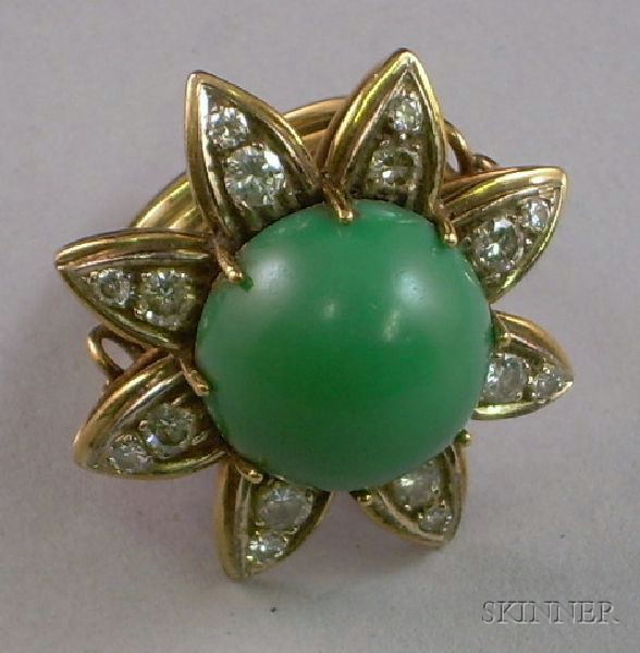 12kt Gold, Green Stone, and Diamond Floriform Ring