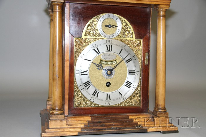 Elm and Mahogany Alarm and Repeating Table Clock by Jno. Wady