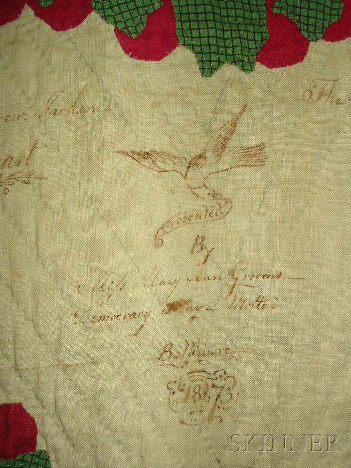 Pieced and Appliqued Cotton Baltimore Album Quilt