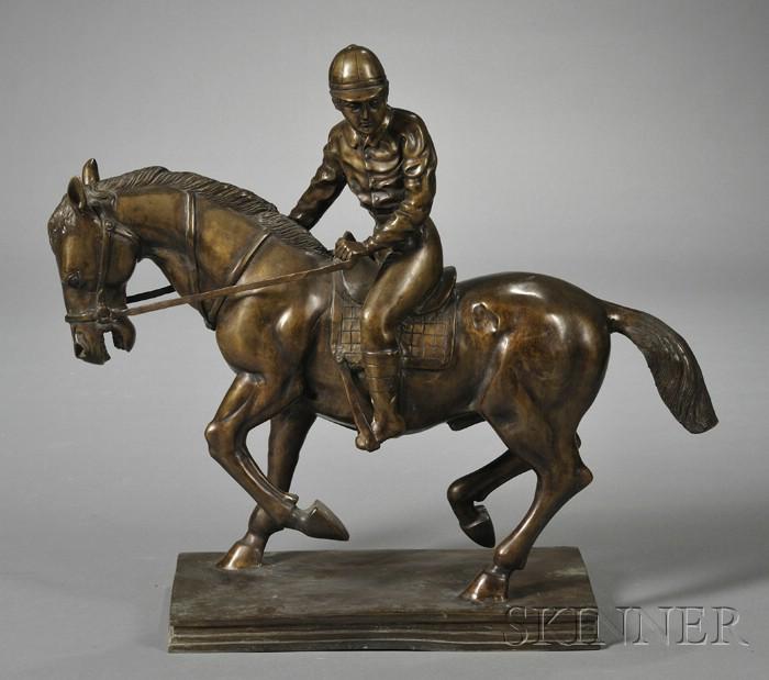 Bronze Model of a Jockey on Horseback