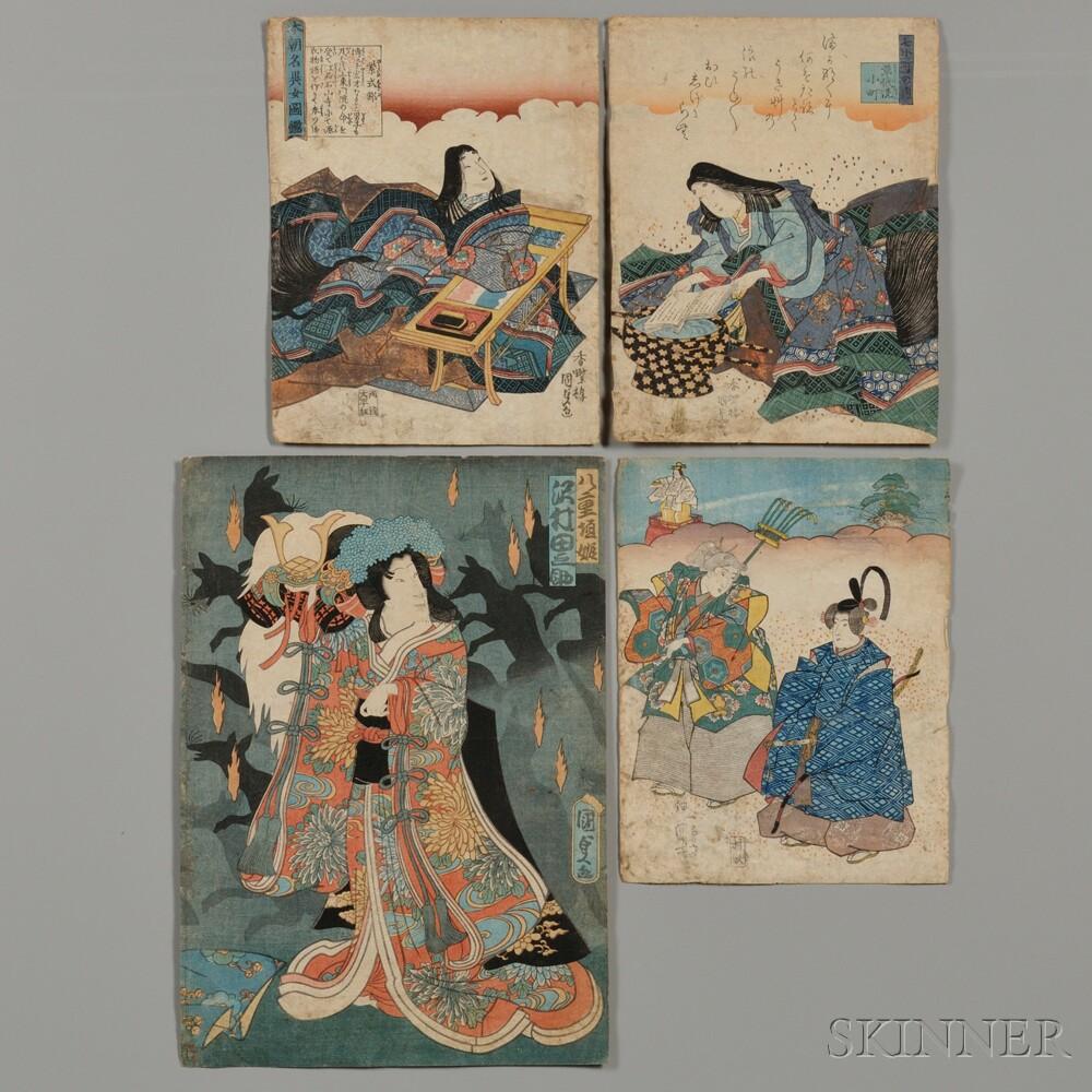 Four Loose Woodblock Prints