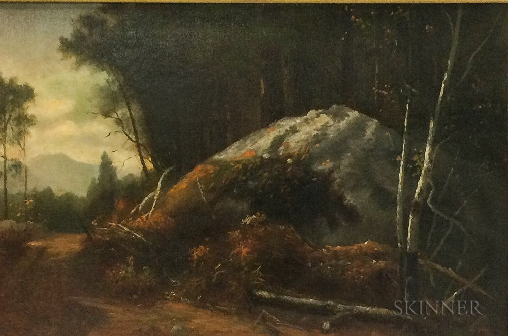 White Mountain School, 19th/20th Century      Autumn Landscape with Foreground Boulder and Distant Mountain