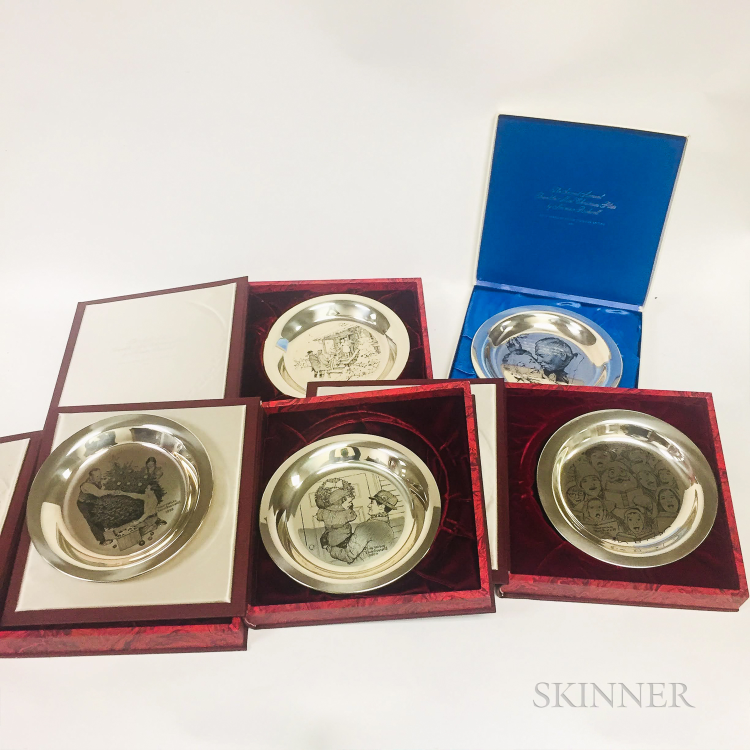 Five Franklin Mint Norman Rockwell Sterling Silver Commemorative Christmas Plates