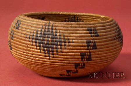 Western Polychrome Coiled Basketry Bowl