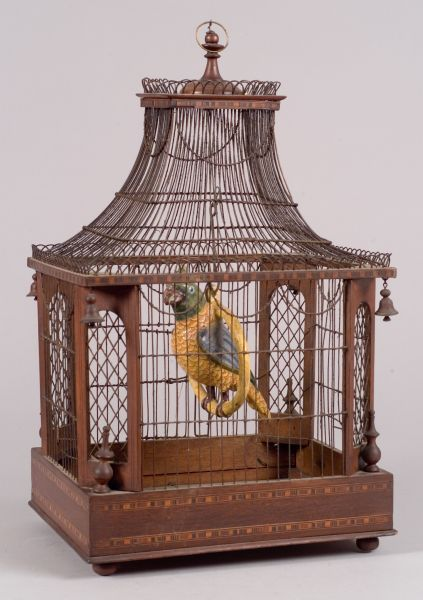Inlaid Wood and Wirework Birdcage with Ceramic Parrot