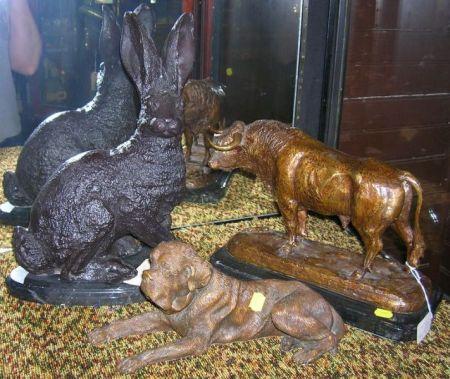 Three Metal Animal Sculptures