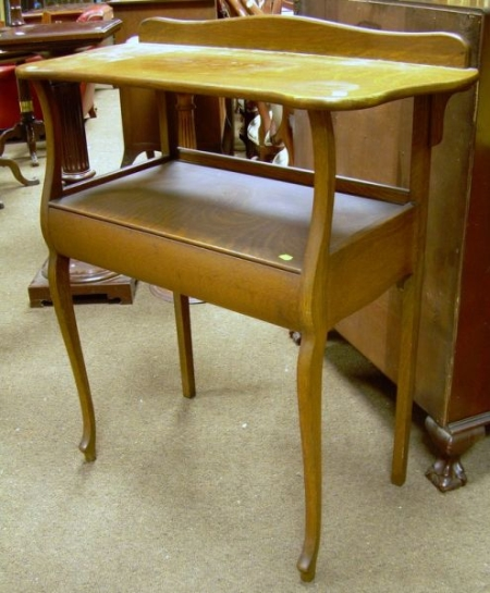 Paine Early 20th Century Oak Washstand with Medial Drawer.