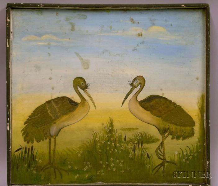Folk Painted Storks in a Landscape Wooden Panel