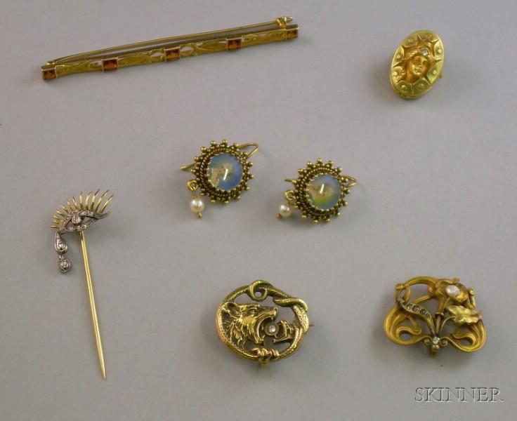 Six Art Nouveau Mostly 14kt Gold Jewelry Items