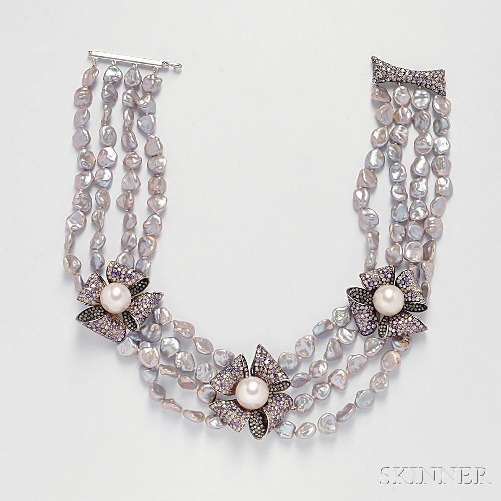 South Sea and Keshi Pearl, Colored Sapphire, and Diamond Necklace, Margot McKinney