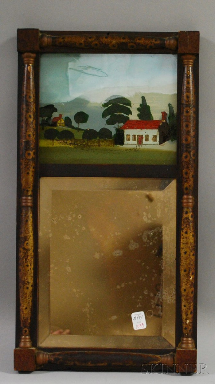Grained Bird's-eye Maple Split-baluster Mirror with Reverse-painted Glass Tablet   Depicting a House in a Landscape