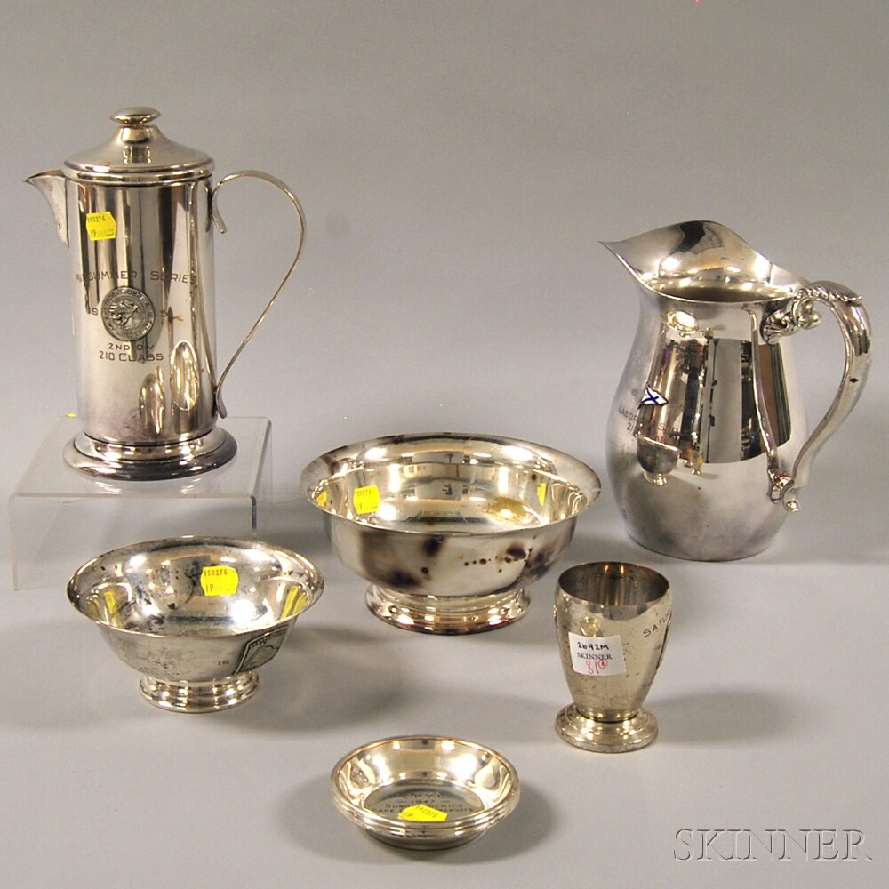 Eight Assorted Silver-plated Yachting Trophies