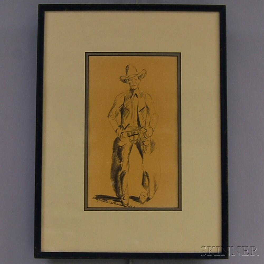 Hughlette Wheeler (American, 1901-1955)      Standing Cowboy.