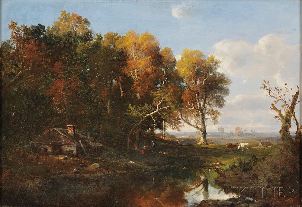 Régis François Gignoux (French, 1816-1882)      Autumn Landscape with Cows