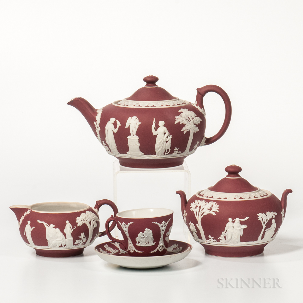 Four-piece Wedgwood Crimson Jasper Dip Tea Set