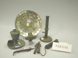 Eight Domestic Metal Items and a Mirror
