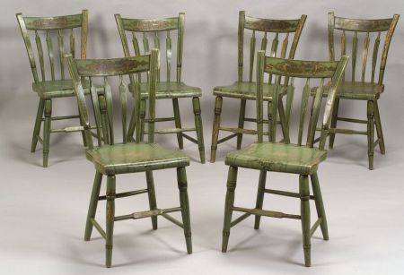 Set of Six Windsor Apple Green Paint-decorated Side Chairs